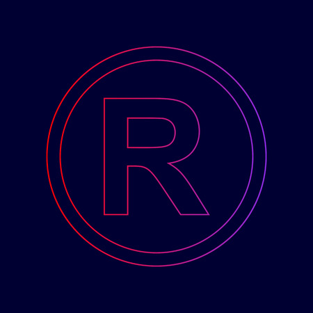 Registered Trademark sign. Vector. Line icon with gradient from red to violet colors on dark blue background.