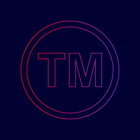 Trade mark sign. Vector. Line icon with gradient from red to violet colors on dark blue background.