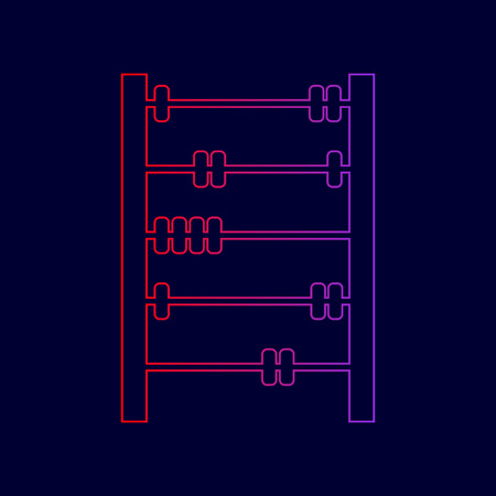 Retro abacus sign. Vector. Line icon with gradient from red to violet colors on dark blue background.