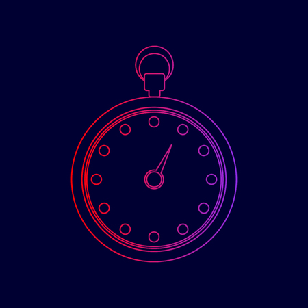 Stopwatch sign illustration. Vector. Line icon with gradient from red to violet colors on dark blue background. Ilustrace