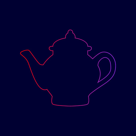 Tea maker sign. Vector. Line icon with gradient from red to violet colors on dark blue background. Illustration