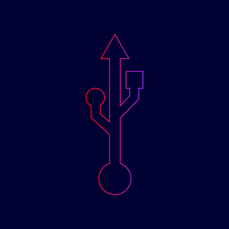 USB sign illustration. Vector. Line icon with gradient from red to violet colors on dark blue background. Illustration