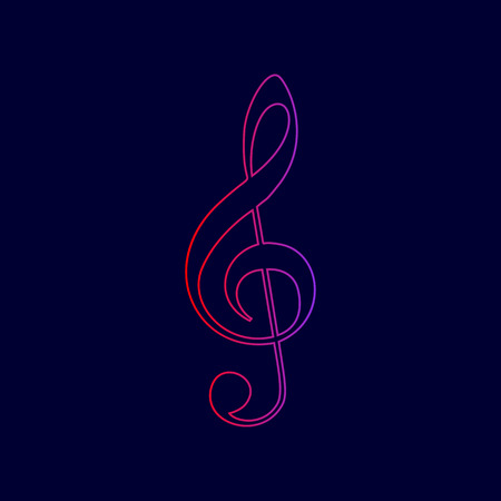 Music violin clef sign. G-clef. Treble clef. Vector. Line icon with gradient from red to violet colors on dark blue background.