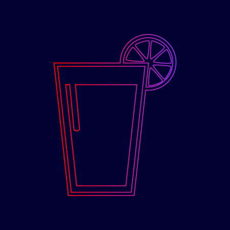Glass of juice icons. Vector. Line icon with gradient from red to violet colors on dark blue background.