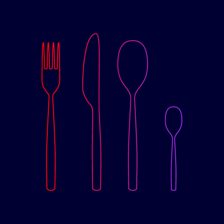 Fork spoon and knife sign. Vector. Line icon with gradient from red to violet colors on dark blue background.