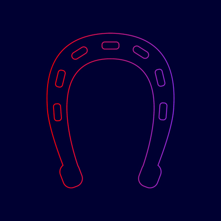 Horseshoe sign illustration. Vector. Line icon with gradient from red to violet colors on dark blue background. Illustration