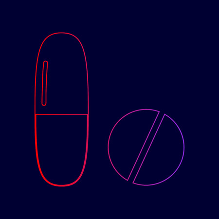 Medical pills sign. Vector. Line icon with gradient from red to violet colors on dark blue background. Illustration