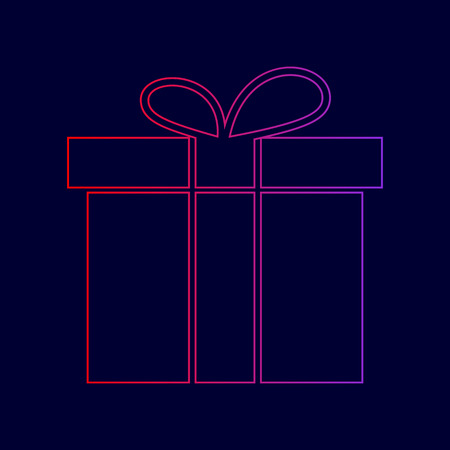 Gift box sign. Vector. Line icon with gradient from red to violet colors on dark blue background. Illustration