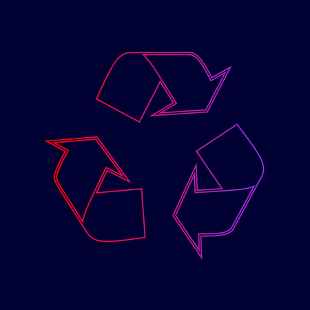 Recycle logo concept. Vector. Line icon with gradient from red to violet colors on dark blue background. Ilustrace