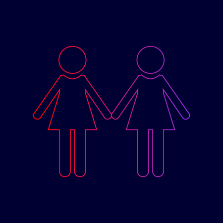 Lesbian family sign. Vector. Line icon with gradient from red to violet colors on dark blue background.