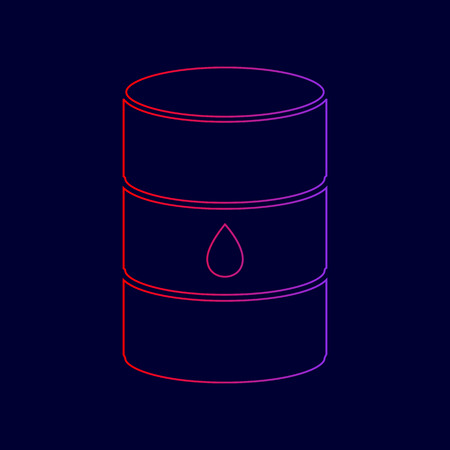 Oil barrel sign. Vector. Line icon with gradient from red to violet colors on dark blue background. Illustration