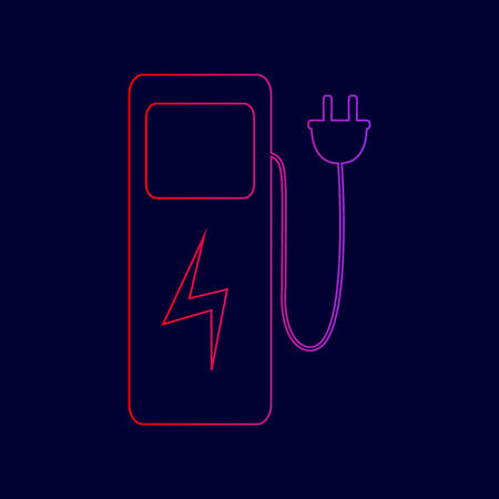 Electric car charging station sign. Vector. Line icon with gradient from red to violet colors on dark blue background.