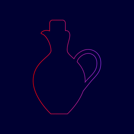 Amphora sign illustration. Vector. Line icon with gradient from red to violet colors on dark blue background. Illustration