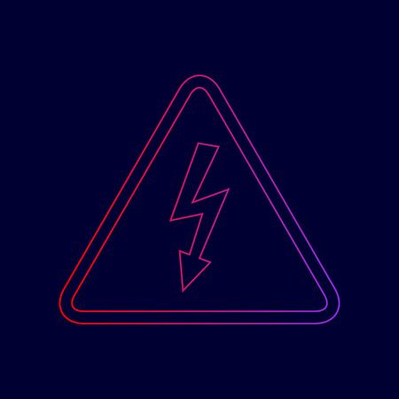 volte: High voltage danger sign. Vector. Line icon with gradient from red to violet colors on dark blue background. Illustration
