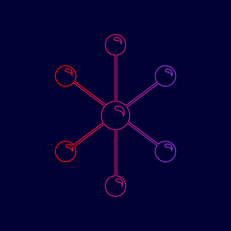 Molecule sign illustration. Vector. Line icon with gradient from red to violet colors on dark blue background.