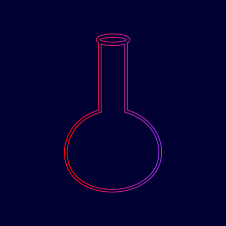 Tube. Laboratory glass sign. Vector. Line icon with gradient from red to violet colors on dark blue background.