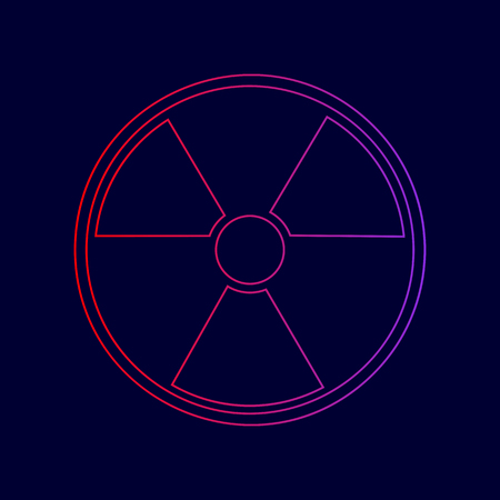 Radiation Round sign. Vector. Line icon with gradient from red to violet colors on dark blue background.