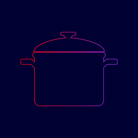 Cooking pan sign. Vector. Line icon with gradient from red to violet colors on dark blue background.