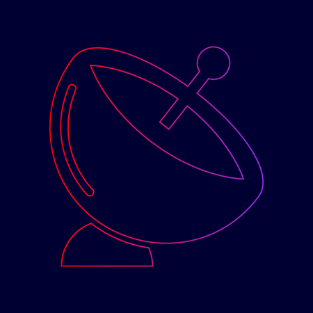 Satellite dish sign. Vector. Line icon with gradient from red to violet colors on dark blue background. Illustration