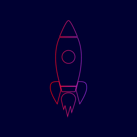Rocket sign illustration. Vector. Line icon with gradient from red to violet colors on dark blue background.