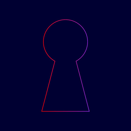 Keyhole sign illustration. Vector. Line icon with gradient from red to violet colors on dark blue background.