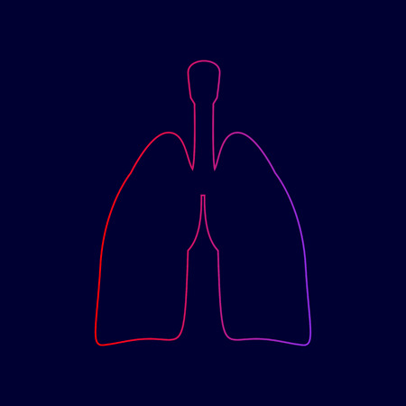 Human organs Lungs sign. Vector. Line icon with gradient from red to violet colors on dark blue background. Illustration