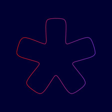 Asterisk star sign. Vector. Line icon with gradient from red to violet colors on dark blue background. Illustration
