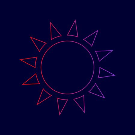 Sun sign illustration. Vector. Line icon with gradient from red to violet colors on dark blue background. Illustration
