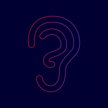 Human ear sign. Vector. Line icon with gradient from red to violet colors on dark blue background.
