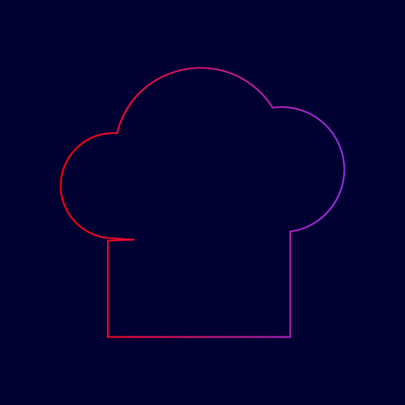 Chef cap sign. Vector. Line icon with gradient from red to violet colors on dark blue background.