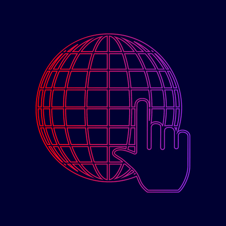 Earth Globe with cursor. Vector. Line icon with gradient from red to violet colors on dark blue background.