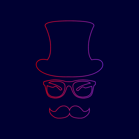 Hipster accessories design. Vector. Line icon with gradient from red to violet colors on dark blue background.