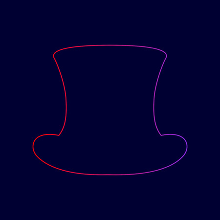 Top hat sign. Vector. Line icon with gradient from red to violet colors on dark blue background.