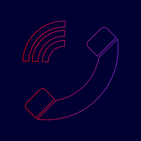 Phone sign illustration. Vector. Line icon with gradient from red to violet colors on dark blue background.