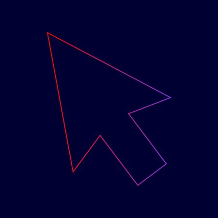 Arrow sign illustration. Vector. Line icon with gradient from red to violet colors on dark blue background. Illustration