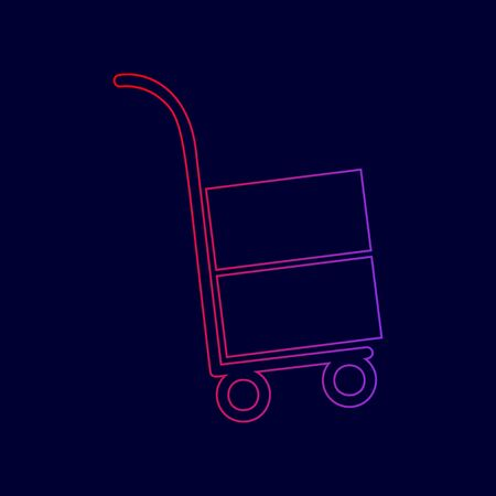 Hand truck sign. Vector. Line icon with gradient from red to violet colors on dark blue background.