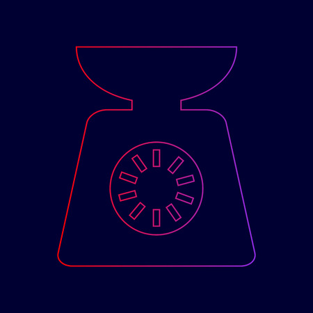 ounce: Kitchen scales sign. Vector. Line icon with gradient from red to violet colors on dark blue background.