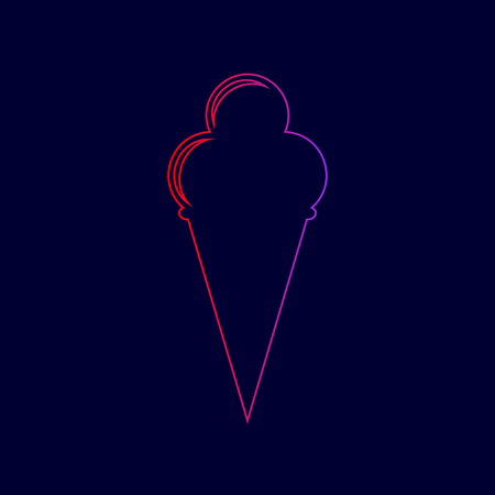 Ice Cream sign. Vector. Line icon with gradient from red to violet colors on dark blue background. Illustration