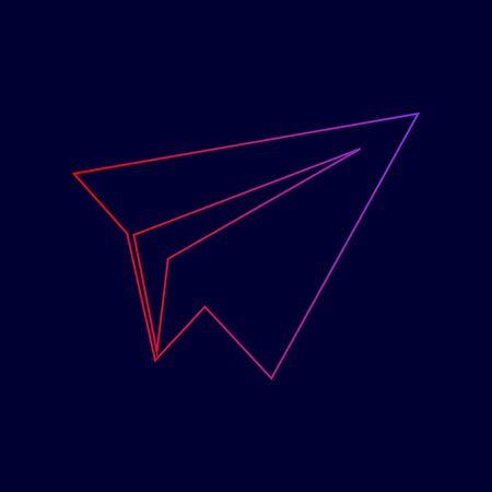 Paper airplane sign. Vector. Line icon with gradient from red to violet colors on dark blue background. Illustration