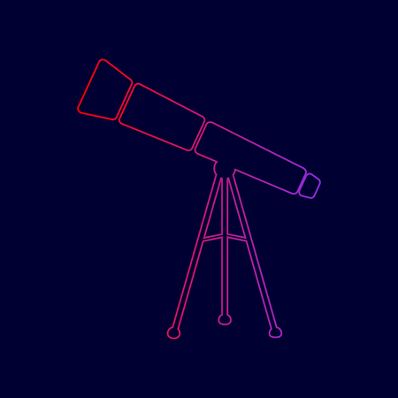 Telescope simple sign. Vector. Line icon with gradient from red to violet colors on dark blue background.
