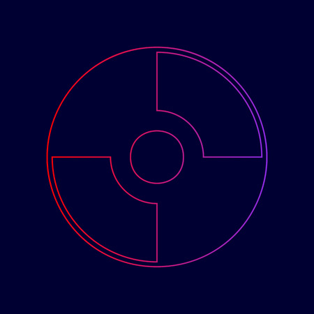 Vector CD or DVD sign. Vector. Line icon with gradient from red to violet colors on dark blue background.