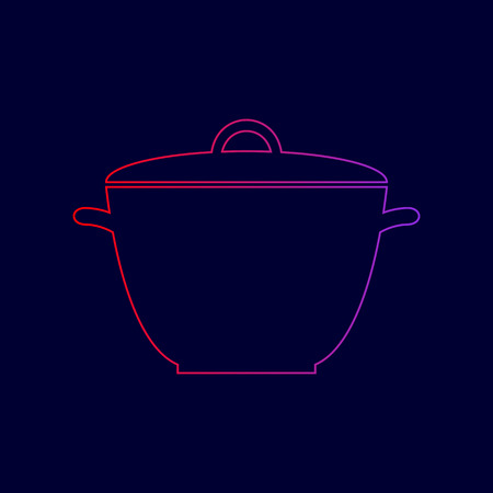 Saucepan simple sign. Vector. Line icon with gradient from red to violet colors on dark blue background. Illustration