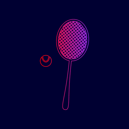 Tennis racquet sign. Vector. Line icon with gradient from red to violet colors on dark blue background.