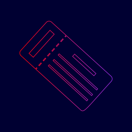 Ticket simple sign. Vector. Line icon with gradient from red to violet colors on dark blue background.