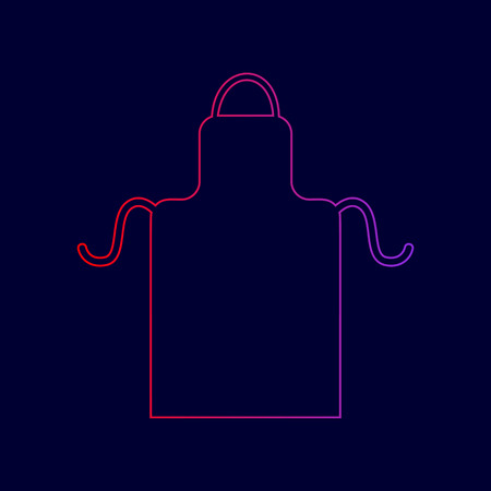 Apron simple sign. Vector. Line icon with gradient from red to violet colors on dark blue background. Illustration