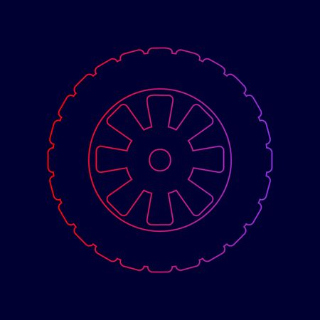 tread: Road tire sign. Vector. Line icon with gradient from red to violet colors on dark blue background.