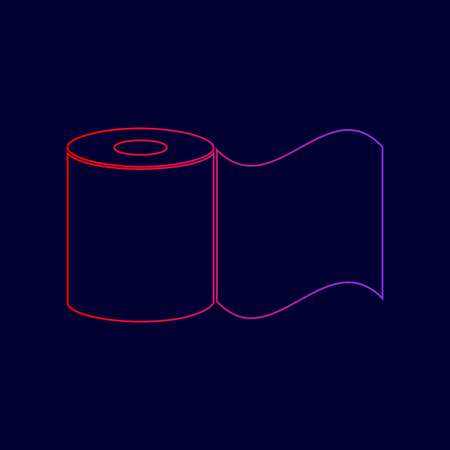 Toilet Paper sign. Vector. Line icon with gradient from red to violet colors on dark blue background. Illustration