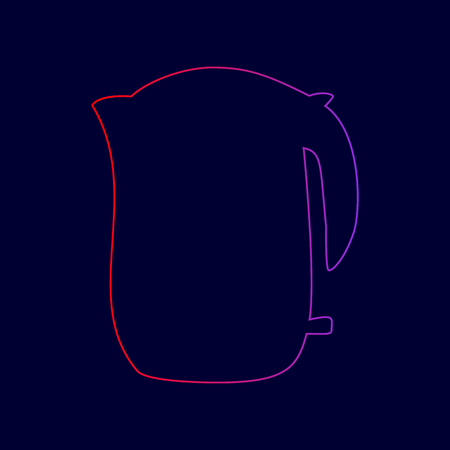 Electric kettle sign. Vector. Line icon with gradient from red to violet colors on dark blue background.