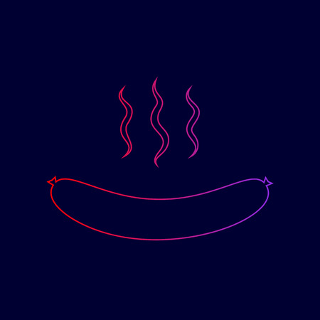 Sausage simple sign. Vector. Line icon with gradient from red to violet colors on dark blue background. Illustration