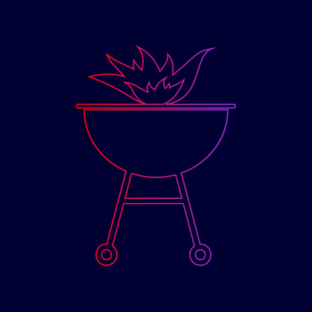 Barbecue with fire sign. Vector. Line icon with gradient from red to violet colors on dark blue background.